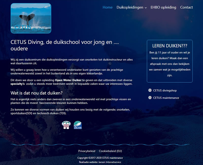 website CETUS diving