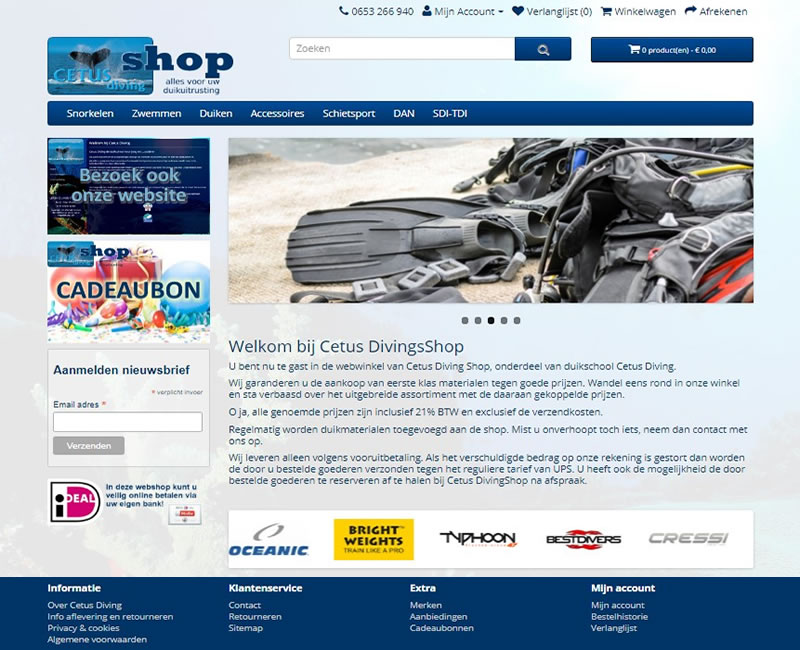website CETUS divingshop